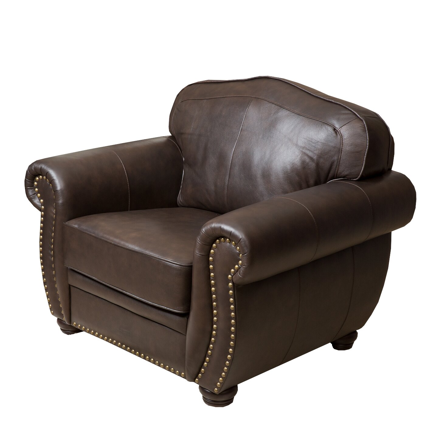 Kenton Leather Arm Chair and Ottoman | Joss & Main