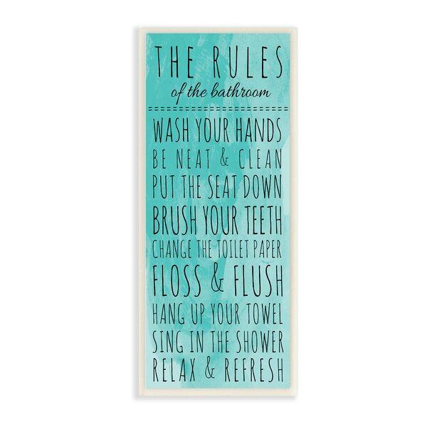 Stupell Industries Bathroom The Rules Textual Art On Canvas Reviews Wayfair