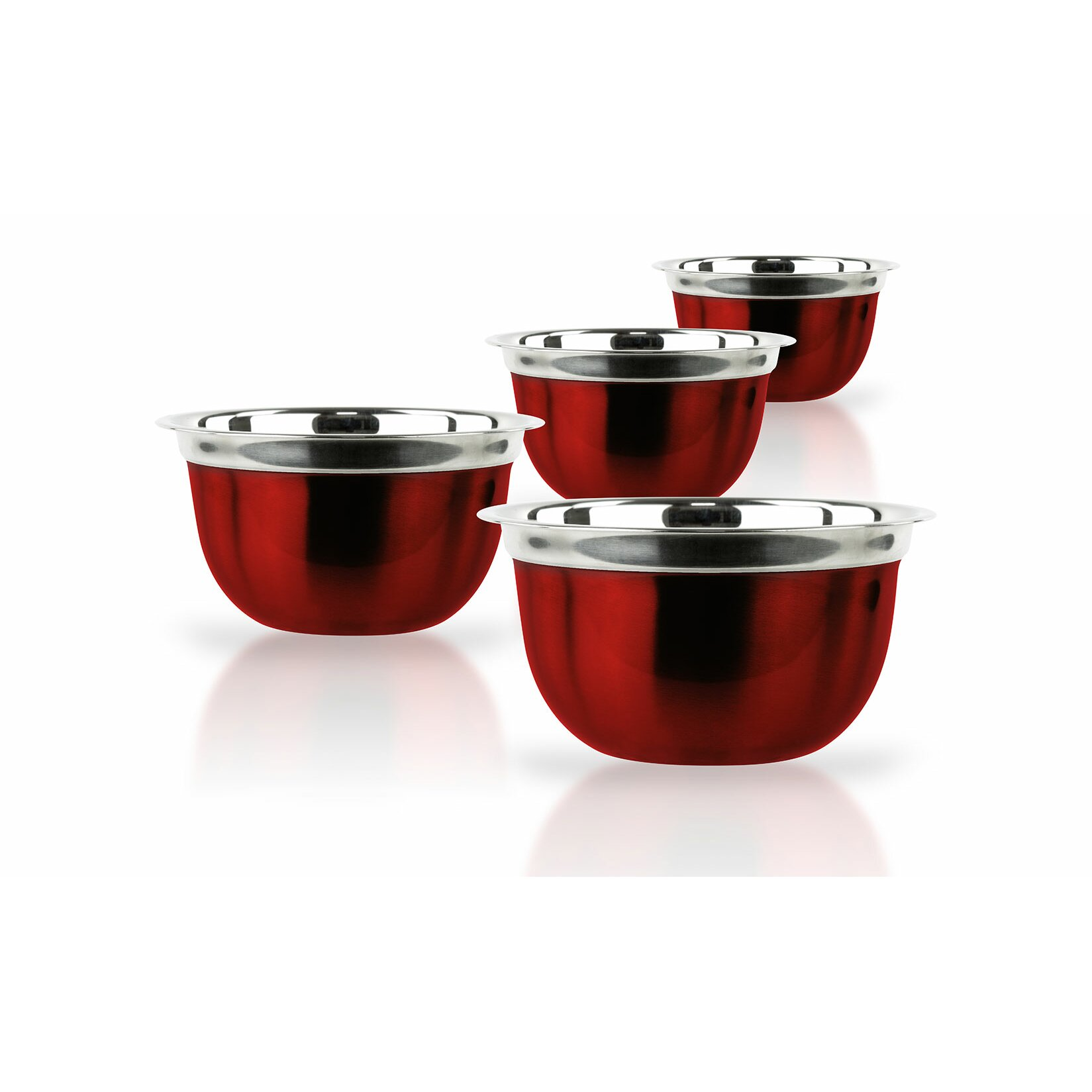 Uncategorized Red Kitchen Appliance Set imperial home 4 piece red stainless steel bowl set reviews wayfair set