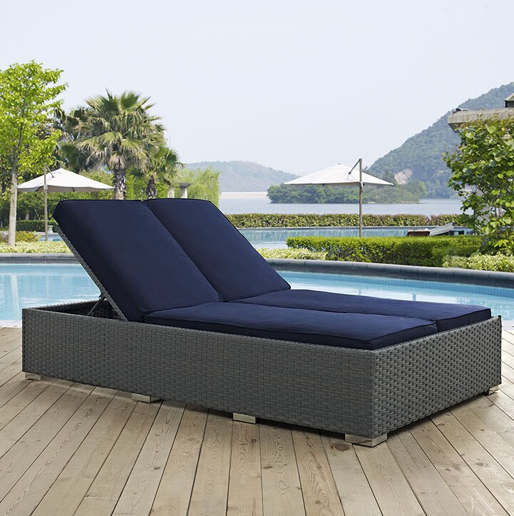 Modway Sojourn Double Chaise Lounge With Cushion  Reviews Wayfair - Double chaise lounge outdoor furniture