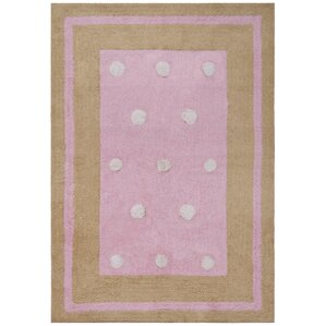 Exceptional Carousel Pink Border Dots Area Rug