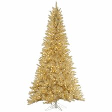 7.5' White/Gold Tinsel Artificial Christmas Tree with 700 LED Clear Dura-Lit Lights