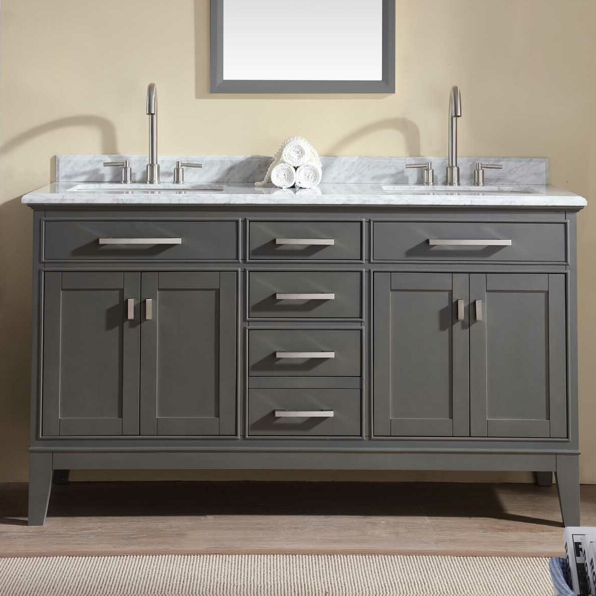 Ari kitchen bath danny 60 double bathroom vanity set reviews wayfair for Pictures of bathrooms with double sinks