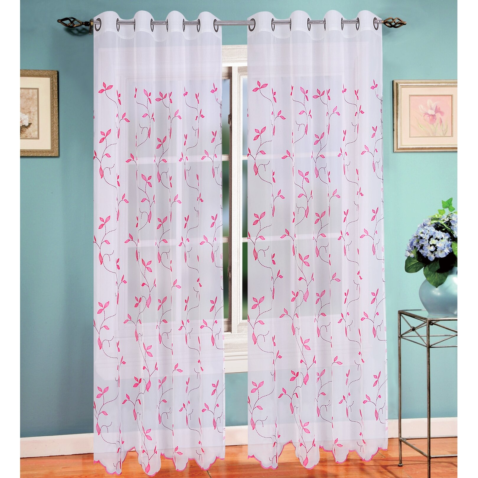 Floral Sheer Grommet Single Curtain Panel