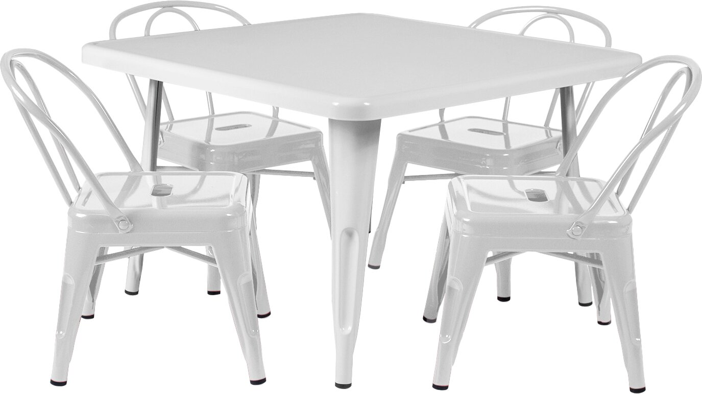 modern writing kids' table  chair sets  allmodern - rigoberto kids square table