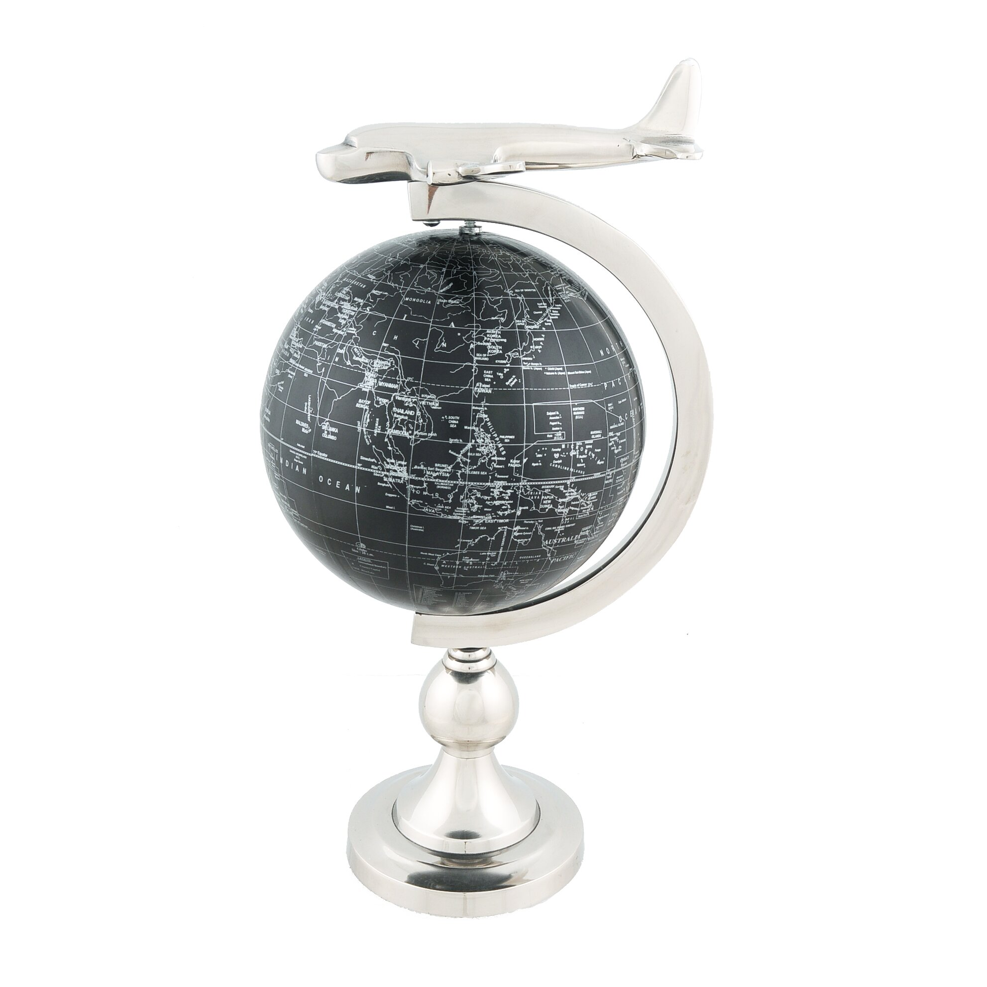 decorative airplane on globe with brass stand - Decorative Globe
