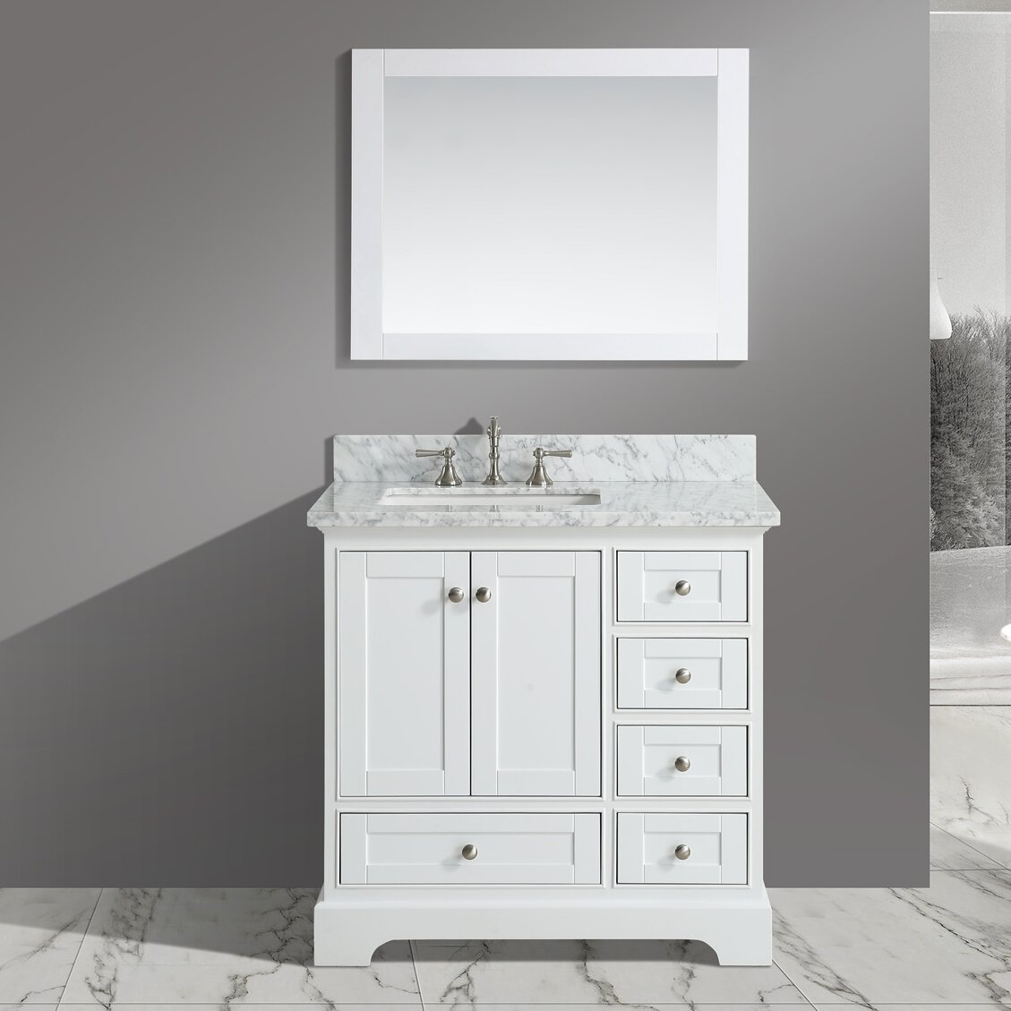 urban furnishings jocelyn 36 bathroom sink vanity set with mirror reviews wayfair. Black Bedroom Furniture Sets. Home Design Ideas