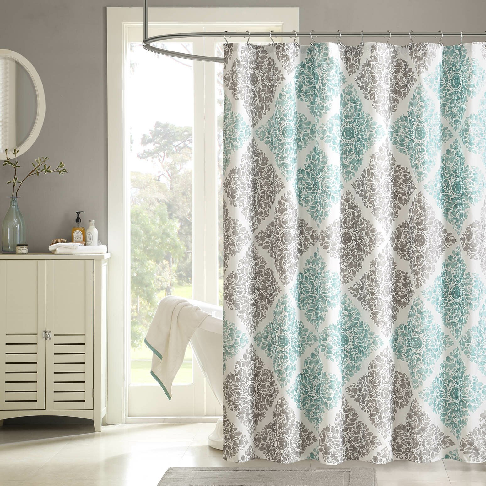 Chevron bathroom sets with shower curtain and rugs - Padang Sidempuan Shower Curtain