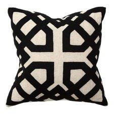 African Mod Kalena Applique Linen Throw Pillow