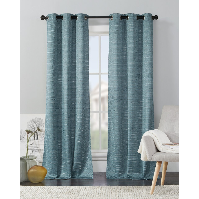 Livingston Solid Semi-Sheer Thermal Grommet Curtain Panels