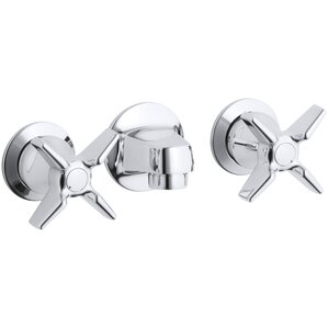 Triton Shelf-Back Commercial Bathroom Sink Faucet with Grid Drain and Cross Handles