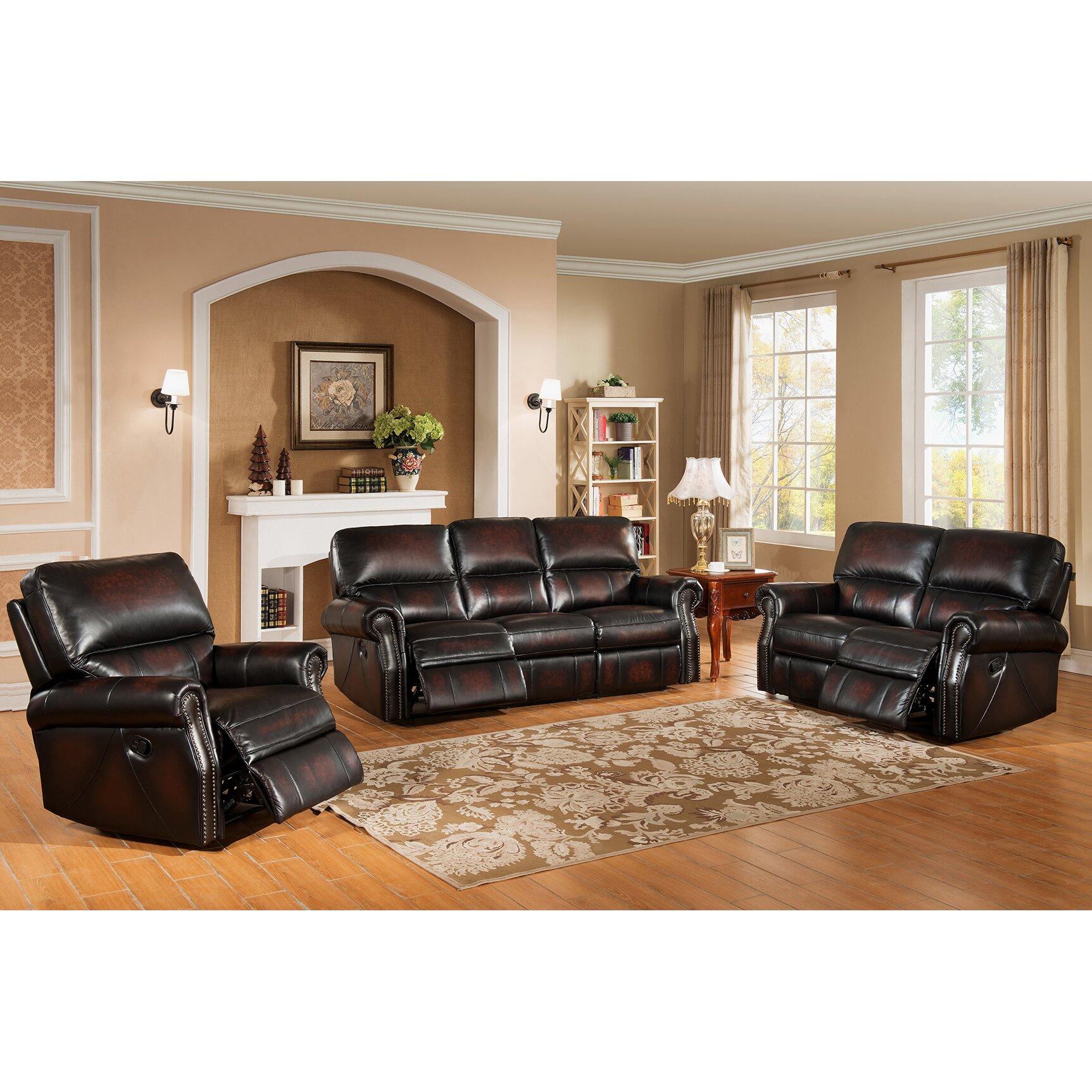Amax nevada 3 piece leather living room set wayfair for Wg r living room sets