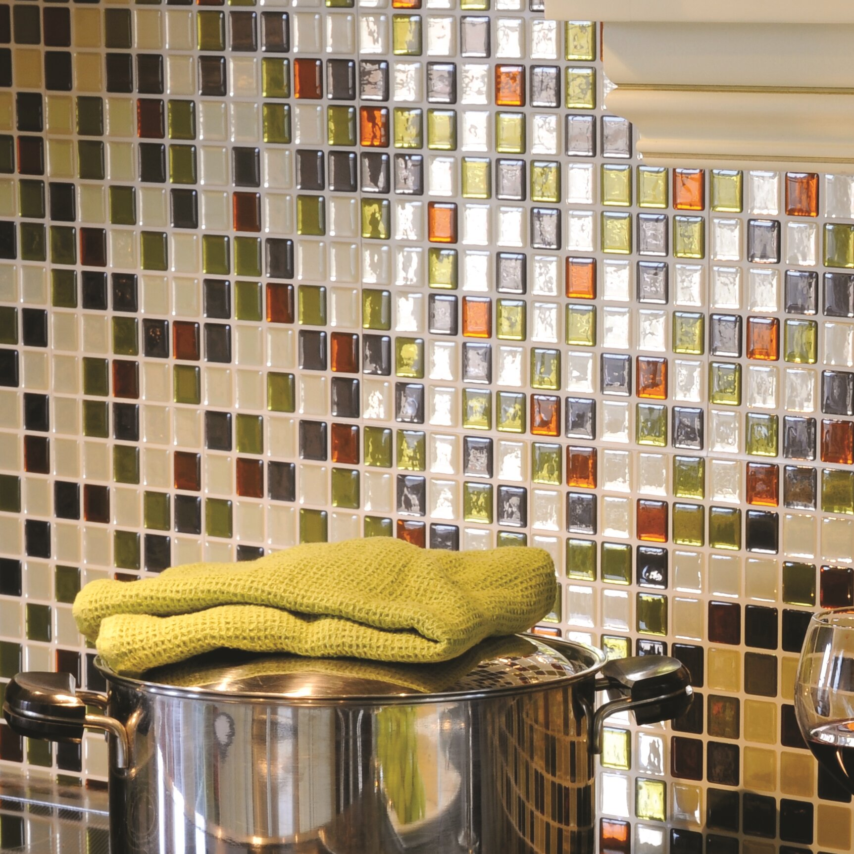 "Peel And Stick Backsplash Tiles: Smart Tiles Mosaic Idaho 9.85"" X 9.85"" Peel & Stick Wall"
