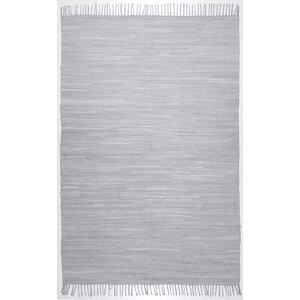 Handgewebter Teppich Happy Cotton in Grau