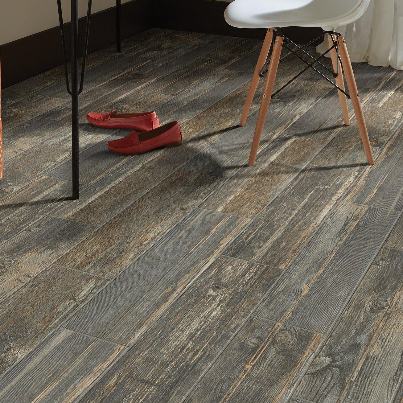 "Welles Hardwood Tampico 7"" X 24"" Ceramic Wood Look Tile In"