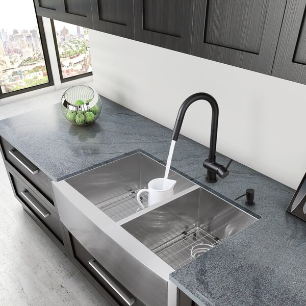 VIGO Alma 33 Inch Farmhouse Apron 60/40 Double Bowl 16 Gauge Stainless  Steel Kitchen Sink U0026 Reviews | Wayfair