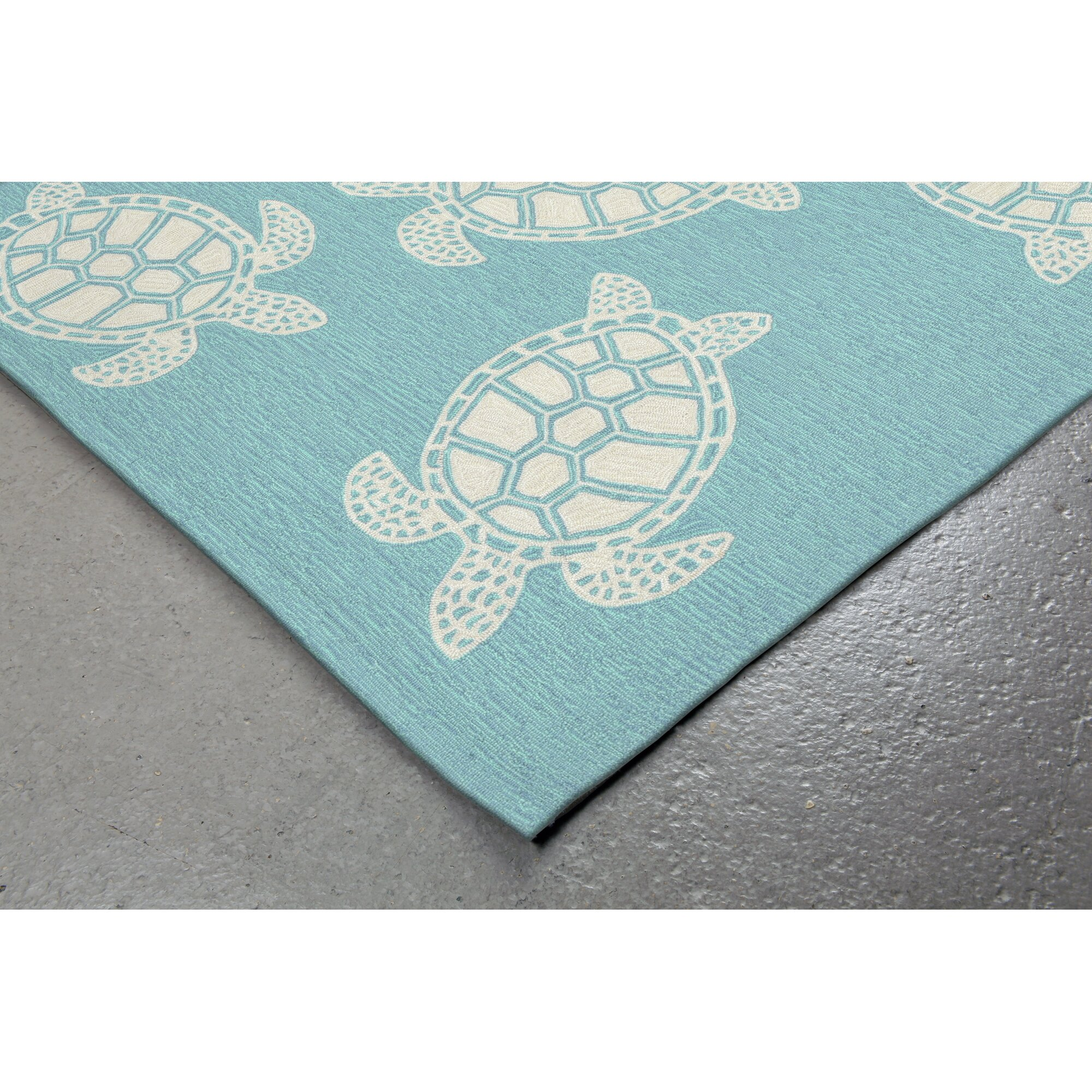 Highland Dunes Claycomb Turtle Hand-Tufted Blue Indoor