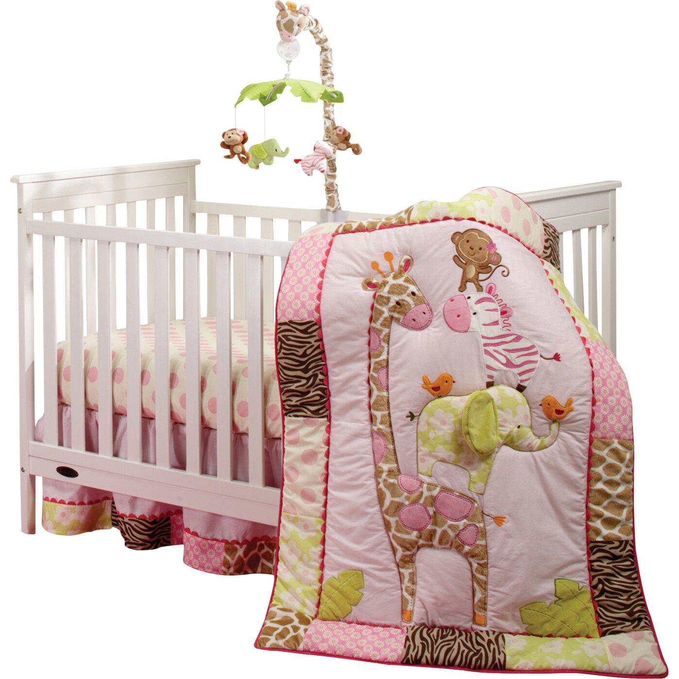 Pink leopard print bedding -  Jungle 4 Piece Crib Bedding Set