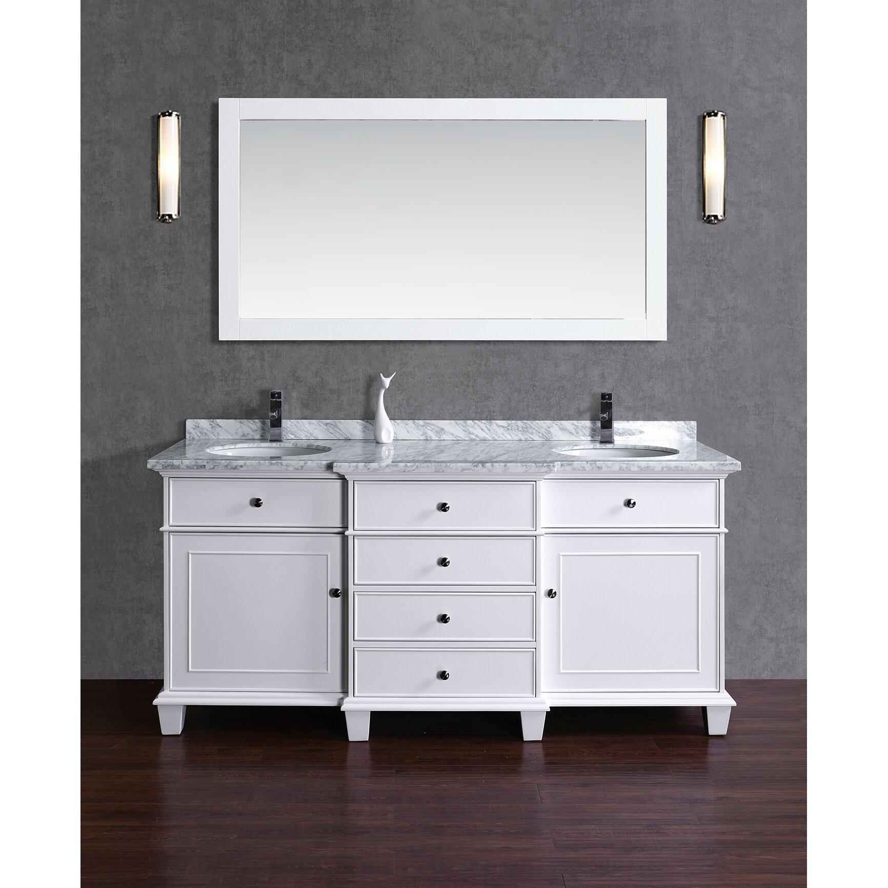 Double bathroom vanity - Dixie 72 Double Bathroom Vanity Set With Mirror