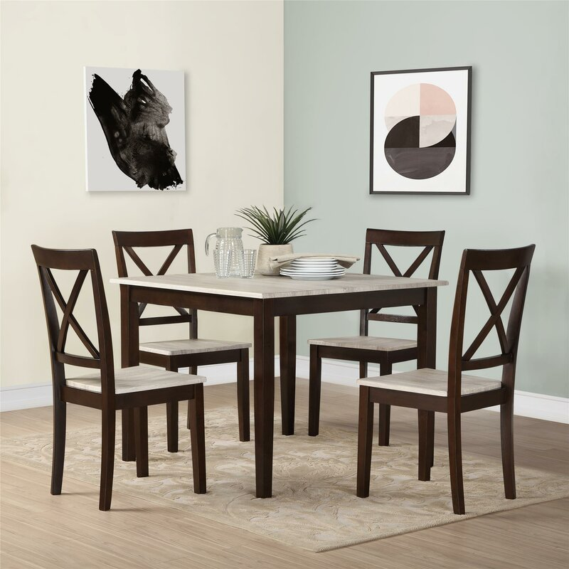 andover mills tilley rustic 5 piece dining set & reviews | wayfair