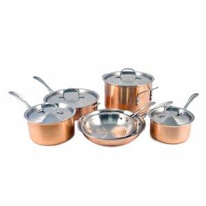 calphalon triply copper 10piece stainless steel cookware set