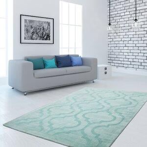 Handgefertigter Teppich Aeon 700 in Mint-Grün