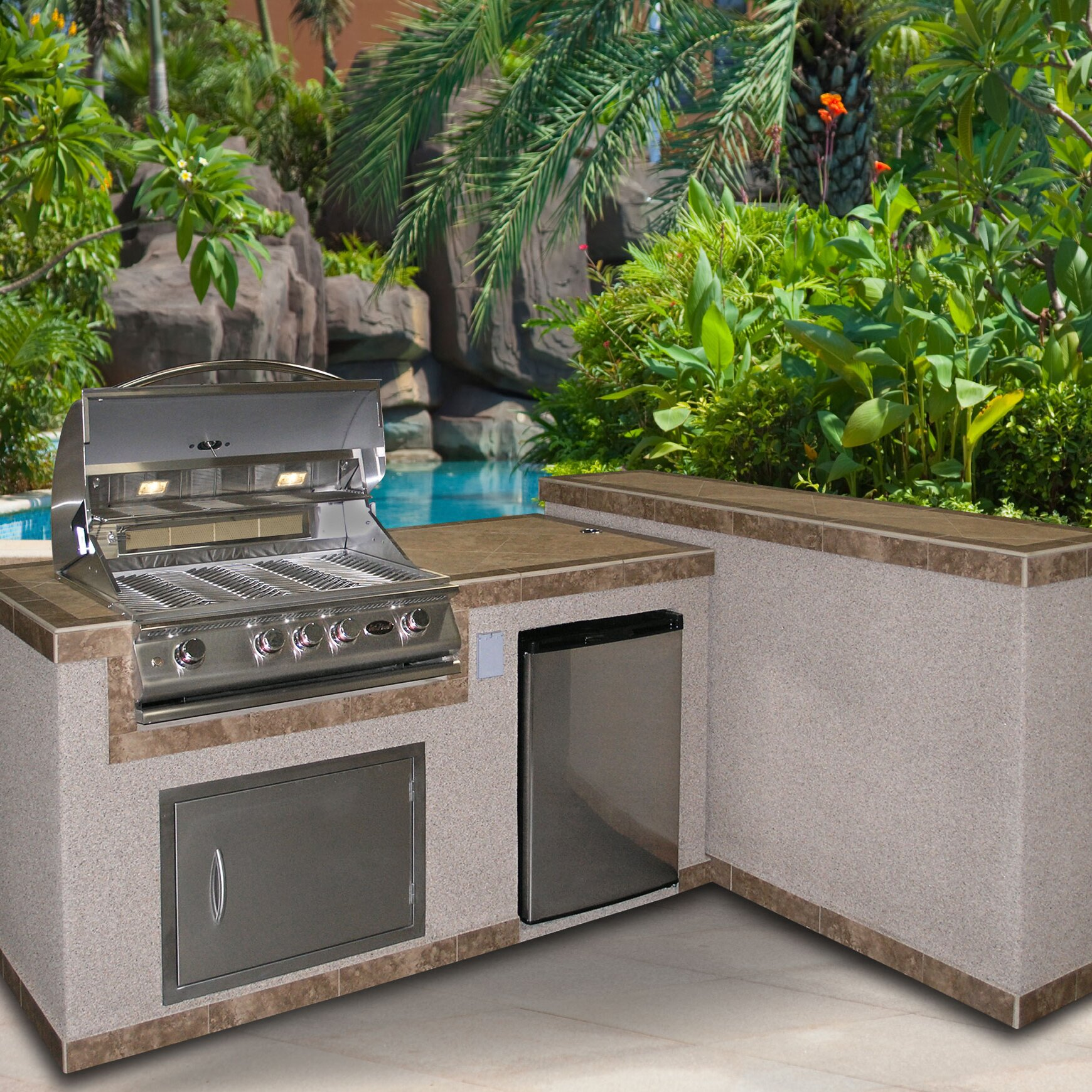 CalFlame 4-Burner Built In Gas Grill with Cabinet and Refrigerator ...