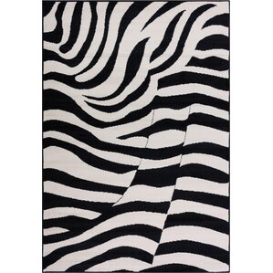 Emeline Zebra Black/White Animal Print Area Rug