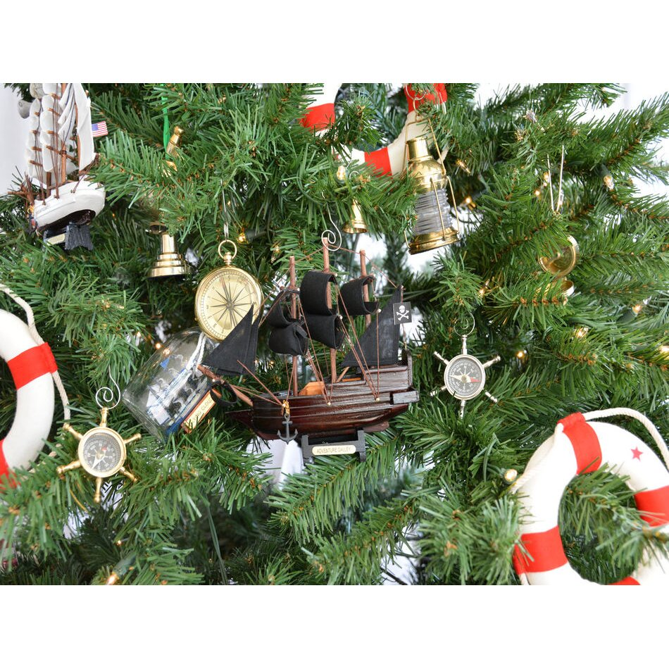 Nautical tree ornaments - Captain Kidd S Wooden Adventure Galley Model Pirate Ship Christmas Tree Ornament