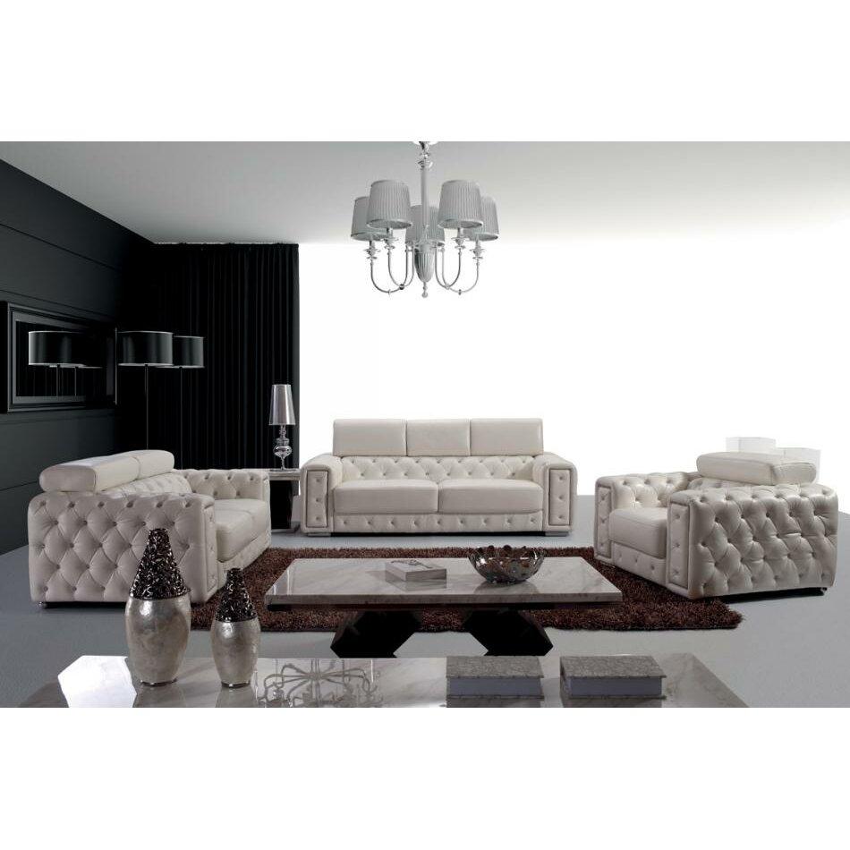 Wade Logan Northbridge 3 Piece Leather Living Room Set Reviews