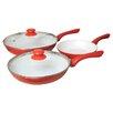Best Direct Ceramicore 3-Piece Induction Compatible Non-Stick Saute Pan Set with Lids
