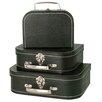 WaldImports 3 Piece Black Decorative Suitcase Set