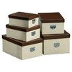 All Home Mock Croc 5 Piece Storage Box Set in Cream