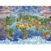 Art Group World Wonders Map by Maria Rabinky Canvas Wall Art