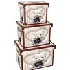 House Additions Teddy 3 Piece Wood/Canvas Box Set