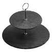 All Home 23cm 2 Tier Slate Cake Stand