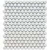 "Retro 11.5"" x 9.75"" Penny Porcelain Mosaic Tile in Matte White"