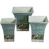ChâteauChic Farm Chick 3 Piece Square Storage Tin Bucket Set