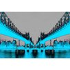 Fluorescent Palace Night Vision Graphic Art on Canvas in Blue