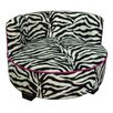 ORE Furniture Upholstered Zebra Print Round Dog Bed