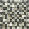 """EliteTile Abbey 0.875"""" x 0.875"""" Natural Stone and Metal Mosaic Tile in Alloy Verde"""
