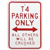 Red Hot Lemon Schild T4 Parking Only, Typografische Kunst