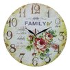 Obique Wanduhr Family and Roses 34 cm