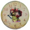 Obique 28cm Romantic Flowers and Watering Can Wall Clock