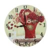 Obique Red Flowers 28cm Wall Clock