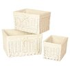 House Additions Willow Storage Basket in White 3 Piece Set