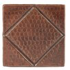 "Premier Copper Products 4"" x 4"" Hammered Copper Diamond Tile in Oil Rubbed Bronze (Set of 4)"