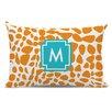 Whitney English Lizard Single Initial Cotton Lumbar Pillow