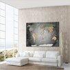 LanaKK 'World Map' Framed Graphic Art Print, Poster in Grey