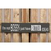 Factory4Home BD--I'm Not Bossy Typography Plaque Set in Black (Set of 2)